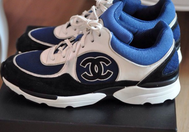 bc8063826873 shoes, blue, white, black, chanel sneakers - Wheretoget