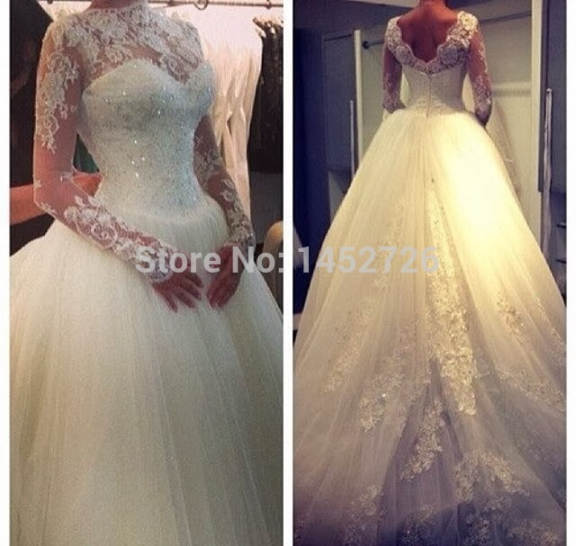 Aliexpress.com : buy new style custom made fashionable high neck real photos bridal ball gowns long sleeves wedding dresses 2014 ball gown lace from reliable lace wigs brazilian hair suppliers on romantic love wedding dress co.,ltd.