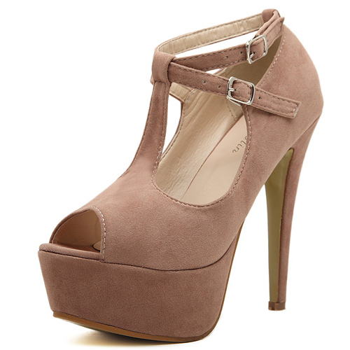 Fashion round peep toe buckles designed platform stiletto super high heels apricot suede ankle strap pumps