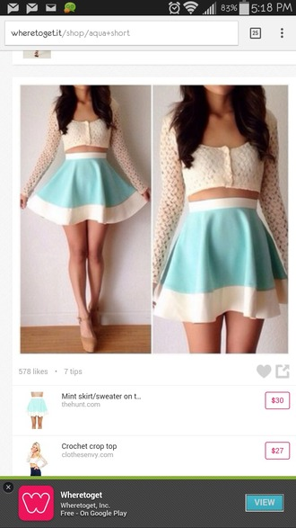 sweater girly outfits tan top mesh button up blouse crop tops long sleeves skirt