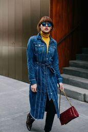 coat,tumblr,blue coat,denim coat,yellow,turtleneck,bag,red bag,chain bag,pants,black pants,shoes,patent shoes,sunglasses,mirrored sunglasses,fall colors,fall outfits,blue long coat