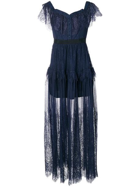 self-portrait dress maxi dress maxi women lace cotton blue