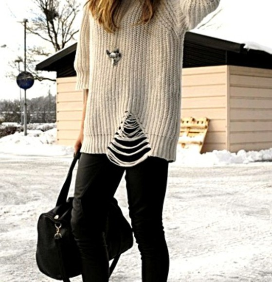 sweater white ivory top