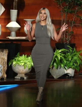 dress olive green bodycon bodycon dress kim kardashian kardashians fall outfits boots midi dress
