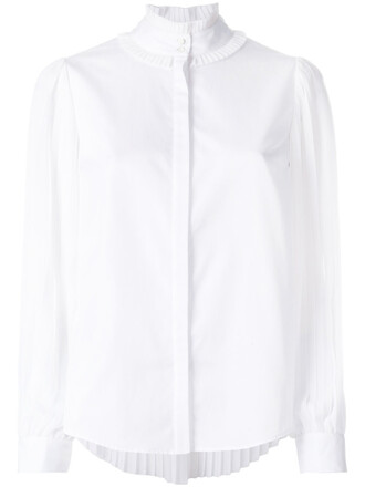 blouse pleated women white cotton top