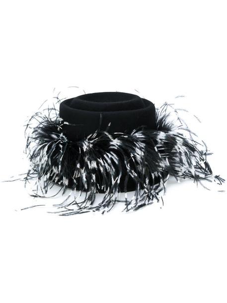 Le Chapeau feathers women hat black