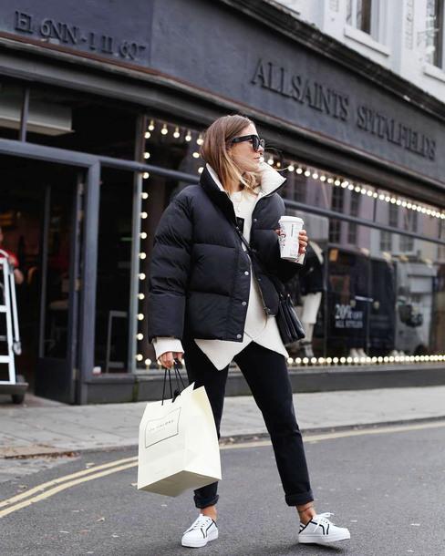shoes sneakers white sneakers low top sneakers denim jeans black jeans jacket black jacket puffer jacket sweater knit knitwear