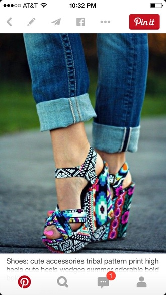 shoes tribal pattern wedges