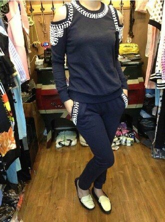 black grey pants casual pullover sportswear 2 peice set strapless beaded long sleeves o neck women suits sweatshirt champagne new york city hoodie