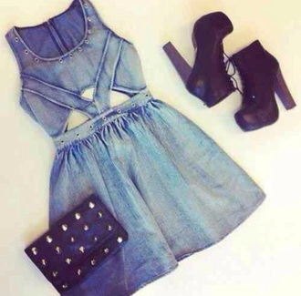 dress denim dress jeans shoes heels boots