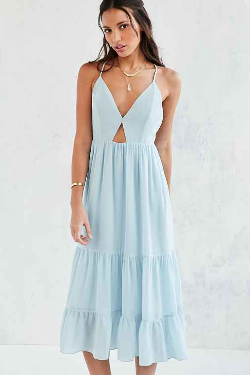 Blue Tiered Cutout Midi Dress - Urban Outfitters
