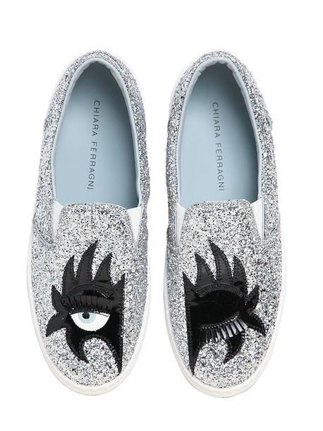 Chiara Ferragni glitter sneakers silver shoes