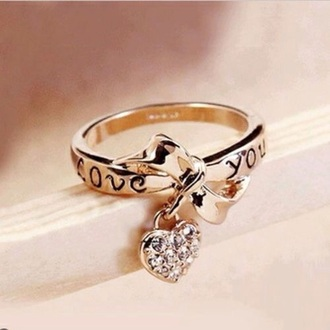 jewels ring gold ring goldring bow ring heart ring