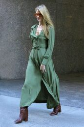 dress,fall outfits,fall colors,fall dress,martha hunt,model off-duty,victoria's secret model,maxi dress,boots,wrap dress