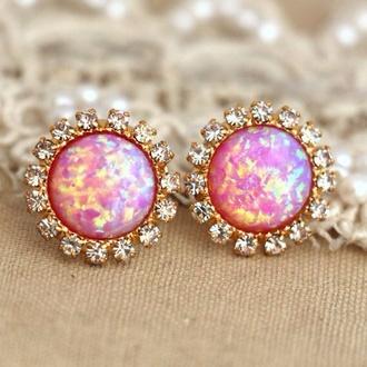jewels earrings pink earrings pink opal diamonds diamond earrings pretty pretty earring gorgeous amazing elegant elegant earrings formal