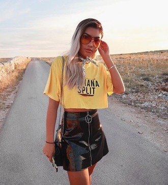 top prettylittlething plt yellow top yellow banana print graphic tee shirt crop tops crop summer outfits summer