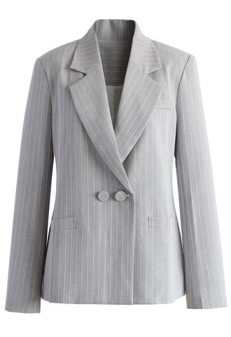 coat double-breasted striped blazer in grey chicwish blazer grey top grey balzer