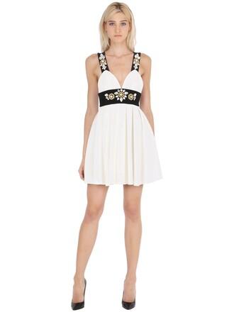 dress pleated embellished white