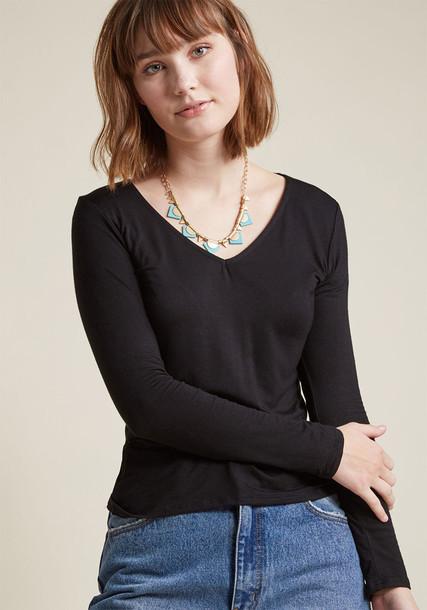 MDT1070 top long new soft black knit