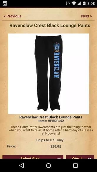 pants ravenclaw harry potter sweatpants hogwarts