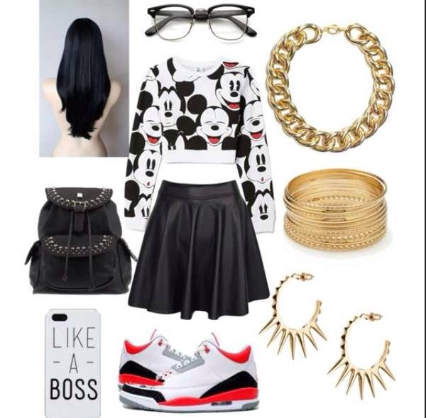top skirt shoes mickey mouse sweater