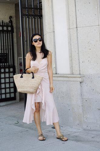 dress tumblr zara asymmetrical stripes striped dress shoes sandals flat sandals bag woven bag sunglasses