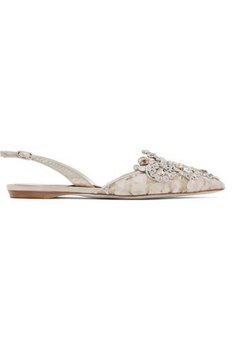 embellished flats lace beige shoes