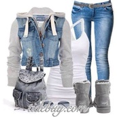 jacket,denim jacket,sweatshirt,jean sweatshirt jacket,jeans,shoes,tank top,grey,ugg boots,aviator sunglasses,bookbag,jean bookbag,white tank top,outfit,bag,tomboy,skater,grey jacket jeans,coat,denim,white,clothes,jackets in jeans,denim sweater,backpack,mochila,gray backpack,gray boots,boots,white cross tank,denim and grey,denim and gray,denim gray sweater,gray uggs,gray ugg boots,pretty top,back to school,glasses,skinny jeans,monday,grey sleeves,jean torso