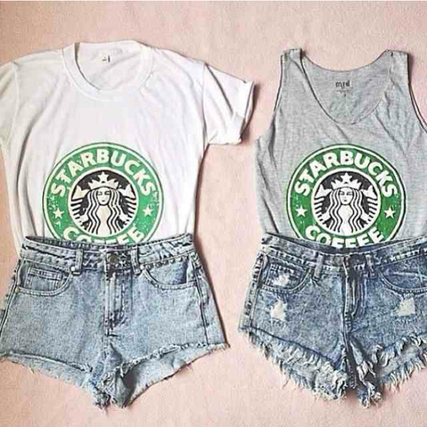 shirt starbucks coffee crop tops t-shirt starbucka starbucks coffee shorts
