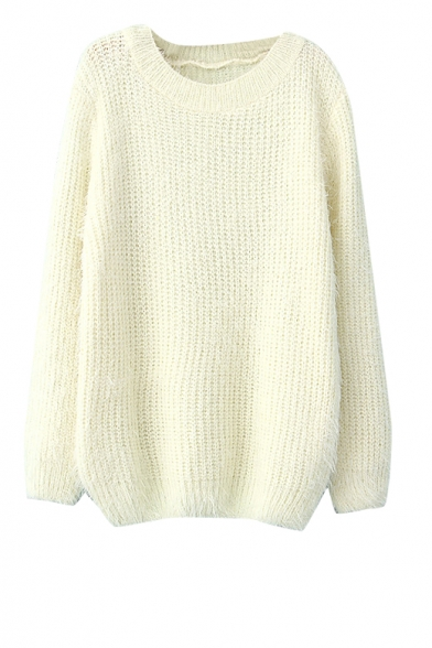Plain round neck long sleeve mohair sweater
