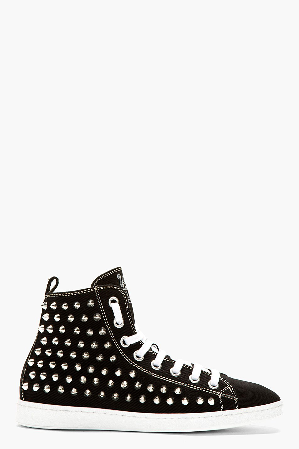 Dsquared2 black canvas spike stud high_top sneakers