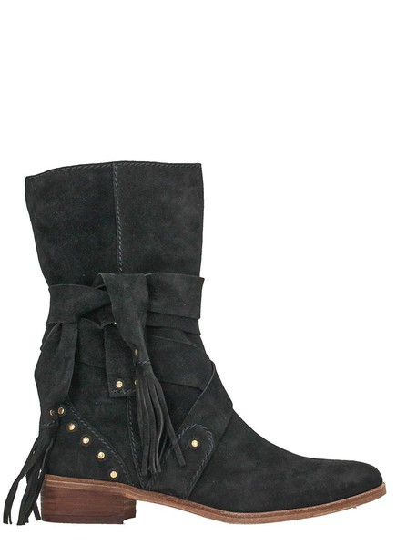 See by Chloe leather ankle boots ankle boots leather suede black shoes