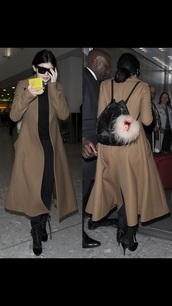 coat,kylie jenner,brown coat,long coat
