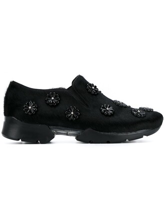 hair women embellished sneakers leather black shoes