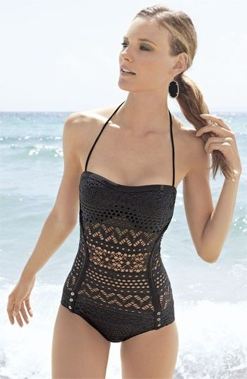 New Robin Piccone 'Penelope' Crochet Overlay One-Piece Swimsuit Black Sz 10