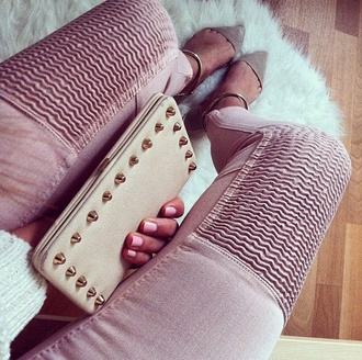 jeans pink girly zara topshop fashion love pink ribbed spring outfits summer shoes bag