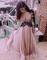 Custom made dusty pink deep v neck prom dresses, formal dresses, party dresses