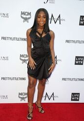dress,Normani Kordei Hamilton,Normani Hamilton,black dress,little black dress,sandals,mini dress
