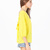 Yellow Long Sleeve Bowknot Backless Blouse - Sheinside.com