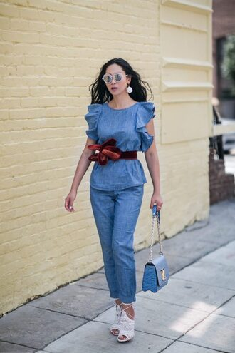 top sunglasses tumblr chambray blue top sleeveless sleeveless top ruffle pants denim jeans shoes white shoes heels bag belt