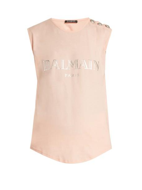Balmain tank top top cotton print silver pink