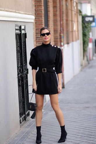 dress puffed sleeves boots black boots sock boots belt bag mini dress black dress date outfit all black everything black bag