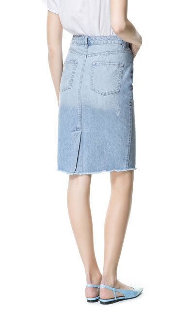 ripped denim pencil skirt skirts zara united