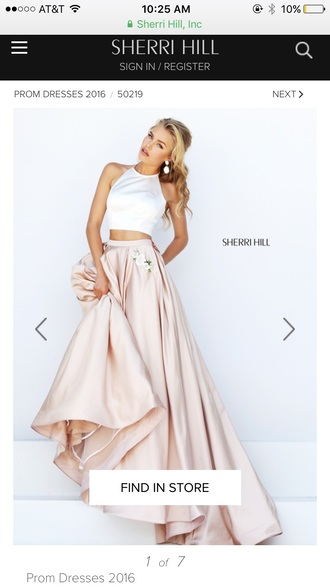 dress ivory/nude two-piece ball gown dress white champagne sherri hill prom dress pink maxi skirt