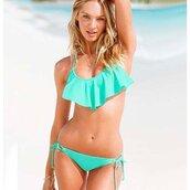 swimwear,falbala swimwear bikini suit,turquoise swimsuit