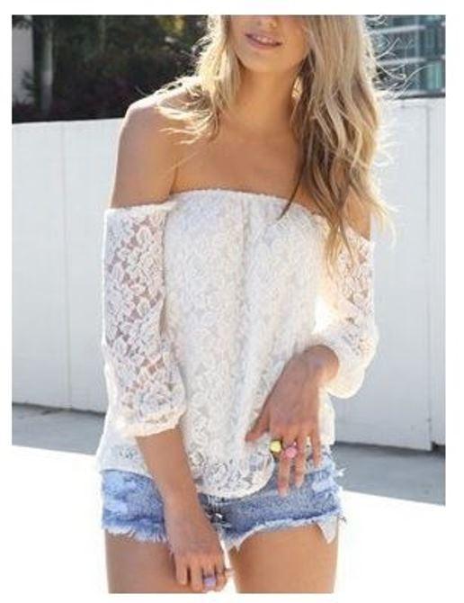 White lace off shoulder blouse