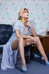 dress,blue,sandals,jaime king,editorial,wrap dress,midi dress