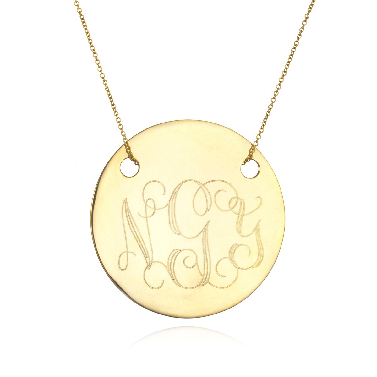 large disc monogram necklace gold by ginette ny charm