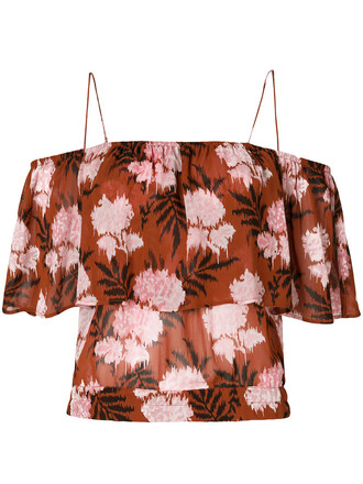 top floral top women floral brown
