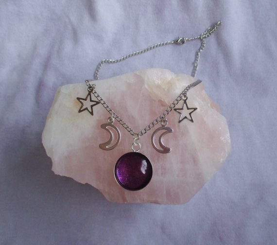 pastel goth moon necklace witchy necklace nu by OfStarsAndWine